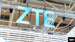 The company logo of China's ZTE telecom giant