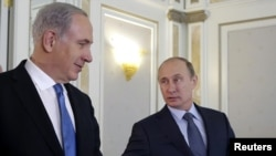 Israeli Prime Minister Benjamin Netanyahu with Russian President Vladimir Putin in Sochi on May 14