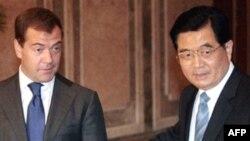 Дмитрий Медведев и Ху Дзиньтао в Душанбе