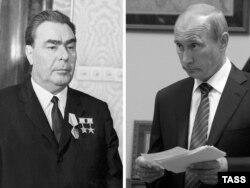 Fostul lider URSS Leonid Brezhnev și președintele rus Vladimir Putin