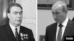 The late Soviet leader Leonid Brezhnev (left), who died in 1982, and current Russian President Vladimir Putin