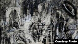 """لوحة من سلسلة """"المطر الاسود"""""""