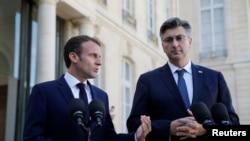 Predsjednik Francuske Emmanuel Macron i premijer Hrvatske Andrej Plenković u Parizu, 16. oktobra