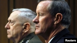 Marine Corps General James Mattis and Navy Admiral William McRaven testify at the Senate Armed Services Committee in Washington on March 5.