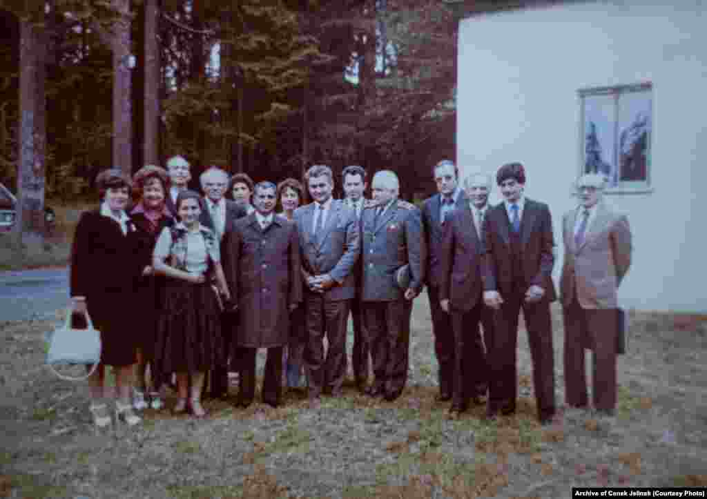 Karmal and Czechoslovak officials outside the hunting lodge in 1978 or 1979
