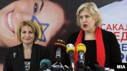 Меѓународните организации загрижени за слободата на говор во земјата, вицепремиерката за евроинтеграции Теута Арифи со претставничката за слобода на медиуми на ОБСЕ, Дуња Мијатовиќ, во Скопје.