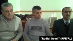 Tajikistan – Dushanbe, advocates of Zaid Saidov, (L) Ishoq Tabarov, Shuhrat Qudratov and Fakhriddin Zokirov, 5 February 2014