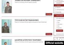 Ұлттық гвардия басшыларының аты-жөндері жазылған сайттан алынған скриншот. Батыр Турсунов - Шавкат Мирзияв құдасы.