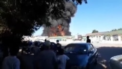 Пожар на центральном рынке Шахритуса