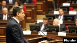 Armenia - Prime Minister Tigran Sarkisian addresses the National Assembly, Yerevan, 20June2012.
