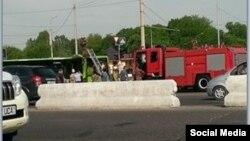 Тошкентда 5 май куни ёнғин чиққан Mercedes-Benz автобусининг Facebook тармоғига жойланган сурати.