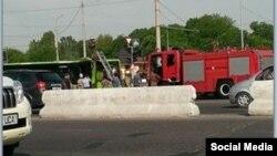 5 may kuni yong'in chiqqan Mercedes-Benz avtobusining Facebook tarmog'iga joylangan surati.