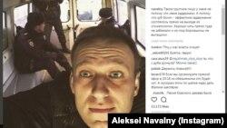 پست اینستاگرام آلکسی ناوالنی که می گوید روز پنجشنبه پلیس او را دستگیر کرده است