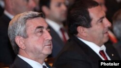 Armenia -- President Serzh Sarkisian (L) and Gagik Tsarukian attend a congress of the Prosperous Armenia Party, 12Feb2011.