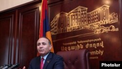 Armenia -- Parliament speaker Hovik Abrahamian, at a press conference in Yerevan, 27Feb2013.