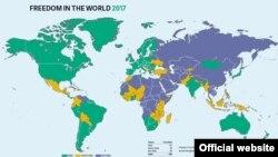 Freedom House-дың 2016-жылғы әлемдегі саяси және азаматтық бостандықтардың жай-күйі туралы есебінің картасы.