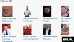 """КС оппозиции. Некоторые фамилии уже давно с припиской """"выбыл"""". Выглядит это так: Выбыл-Кац, Выбыла-Романова...Скриншот с сайта КС."""