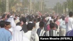 جانب من تظاهرة في الاحواز ضد السلطات الإيرانية