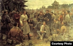 Пётра Сергіевіч. Кастусь Каліноўскі сярод паўстанцаў 1863 году. 1955, холст, алей