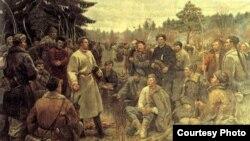 Карціна Пётры Сергіевіча. Кастусь Каліноўскі сярод паўстанцаў 1863 года.