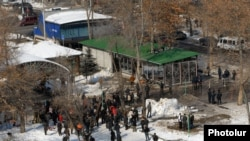 Armenia - Clothing shops built in a public park in downtown Yerevan, 21Feb2012.