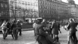 Czechoslovakia -- FILE -- Prague, Narodni trida, November 17, 1989 - A brutal police action against peaceful march of students in Prague on November 17, 1989, sparked the Velvet Revolution, a series of demonstrations that toppled the authoritarian Communi