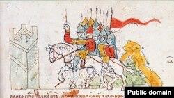 Паўднёварускія князі вяртаюцца зь няўдалага паходу на Менск у 1104 годзе. Выява з Радзівілаўскага летапісу