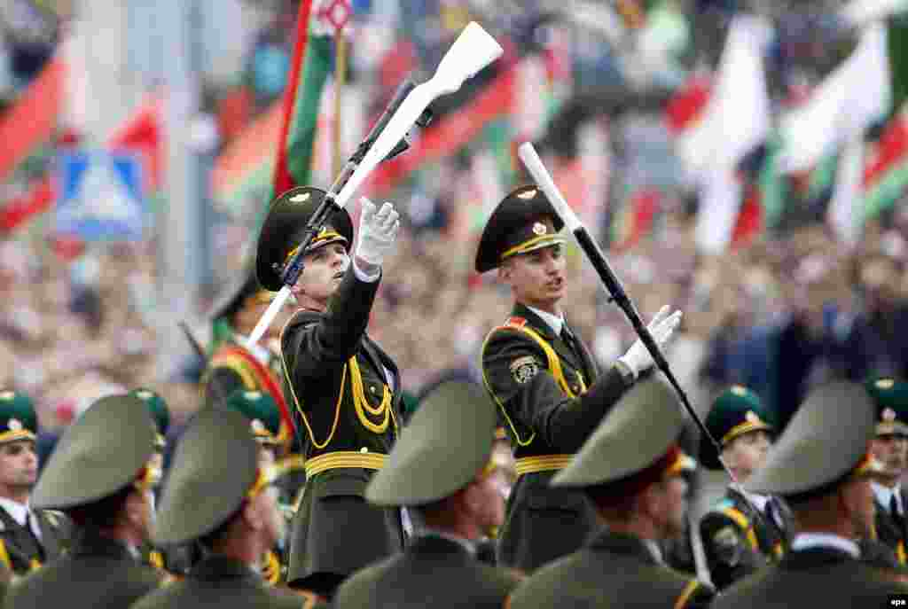 Belarusian honor guards perform during a parade marking Independence Day in Minsk. Independence Day in Belarus is celebrated on the day of the liberation of Belarusian territory from Nazi German troops in 1944. (epa/Tatyana Zenkovich)