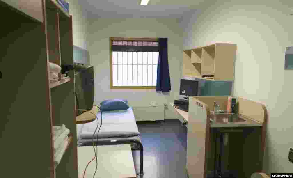 Cells are equipped with televisions but inmates do not have Internet access.