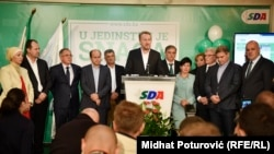 Predsjednik Stranke demokratske akcije (SDA) Bakir Izetbegović, sa članovima stranke na lokalnim izborima, Sarajevo,2016.