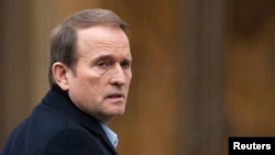 Ukrainian power broker Viktor Medvedchuk, a close associate of Russian President Vladimir Putin, arrives in Minsk to take part in Ukrainian peace talks in January 2015.