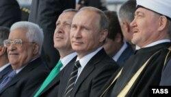 Мәскәүдә Җәмигъ мәчет ачылышында: Мәхмүт Аббас, Рәҗәп Тайип Эрдоган, Владимир Путин, Равил Гайнетдин. 23 сентябрь 2015
