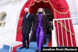 Билл и Хиллари Клинтон на церемонии инаугурации.