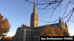 The flag appeared on scaffolding outside Salisbury Cathedral (file photo)