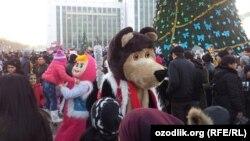 Празднование Нового года на площади Независимости в Ташкенте. 31 декабря, 2014
