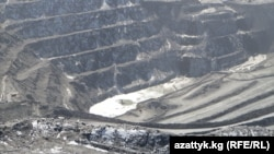A view of an open pit at the Kumtor gold mine in the Issyk-Kul region of Kyrgyzstan
