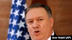 U.S. Secretary of State Mike Pompeo, gives a speech at the American University in Cairo, January 10, 2019