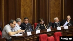Armenia - Nikol Pashinian (L) and other deputies from the opposition Armenian National Congress attend a parliament session, Yerevan, 22June2012.