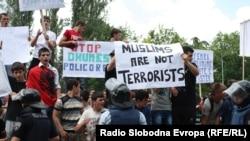 Protesta në Shkup kundër fajësimit të shqiptarëve për vrasjen e pesëfishtë - foto arkivi.