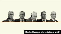 Лидерите на ОВК - Хашим Тачи, Кадри Весели, Јакуп Красничи, Реџеп Селмани и Салих Мустафа