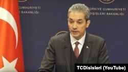 Turkey, Ankara -- Turkish Foreign Ministry spokesperson Hami Aksoy in press conference on March 6, 2018.