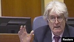 A video grab shows Radovan Karadzic as he defends himself at his war crimes trial in The Hague today.