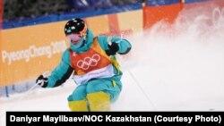 Казахстанский фристайлист Дмитрий Рейхерд на состязаниях по могулу в Пхёнчхане. 12 февраля 2018 года.