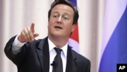 Премьер-министр Великобритании Дэвид Кэмерон на выступлении в МГУ. Москва, 12 сентября 2011 года.