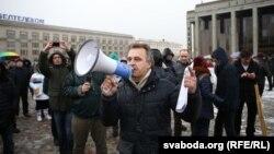 Анатоль Лябедзька на мітынгу прадпрымальнікаў 22 лютага