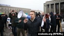 Анатоль Лябедзька падчас мітынгу прадпрымальнікаў у Менску, 22 лютага 2016 году