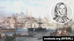 Фрагмэнт партрэту Салямэі Русецкай аўтарства Яўгена Куліка на фоне старадаўняга Стумбулу