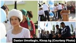 Упавшая в обморок Кызжибек и перерезающие ленту чиновники