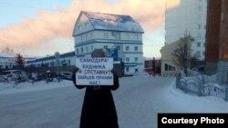 Галина Шергина проводит одиночный пикет