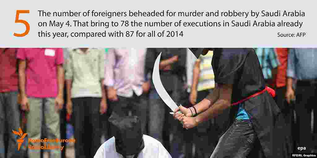 5 - число иностранцев, обезглавленных по обвинению в убийствах и ограблениях в Саудовской Аравии. В стране уже казнены в этом году 78 человек, при том что за весь прошлый год смертные приговоры были приведены в отношении 87 осужденных